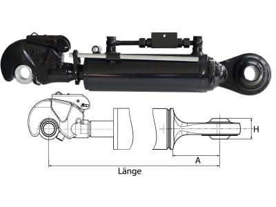 Hydraulischer Oberlenker, Kat. 2/2 (25,4 mm), Länge 604 – 884 mm, Sperrblock oben, mit Fanghaken und Kugelgelenk