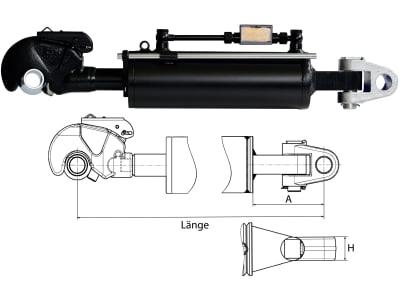 Hydraulischer Oberlenker, Kat. 3/3 (32 mm), Länge 700 – 940 mm, mit Fanghaken und Gabelgelenk
