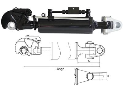 Hydraulischer Oberlenker, Kat. 3/3 (32 mm), Länge 550 – 750 mm, mit Fanghaken und Gabelgelenk