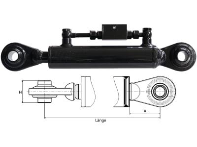 Hydraulischer Oberlenker, Kat. 1/1, Länge 410 – 570 mm, mit beidseitigem Kugelgelenk für Weinbautraktoren