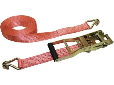 Kerbl Langhebel-Ratschen-Zurrgurt Breite 50 mm, 2-teilig, Spitzhaken, Langhebelratsche, rot