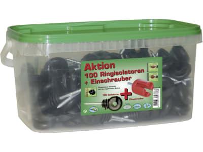 Ako Ringisolator 100 St., Holzgewinde, schwarz, mit Einschrauber, für Drähte und Litzen, 44306/908