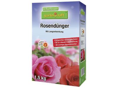 gartenkraft® Rosendünger mit Langzeitwirkung NPK 15+10+15 mit allen wichtigen Nährstoffen für Rosenkulturen 1,5 kg Schachtel