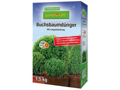 gartenkraft® Buchsbaumdünger mit Langzeitwirkung NPK 15+9.5+15 mit Langzeitwirkung für Buchsbäumen und -hecken 1,5 kg Schachtel