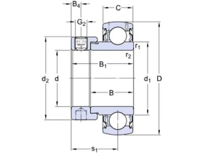 SKF Y-Lager YET 205-100-2F, Ø innen 25,4 mm, Exzenterringbefestigung, zöllig, 1-seitig verbreiteter Innenring