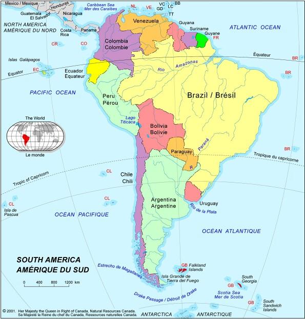 Carte Amerique Du Sud Avec Capitale.Le Bresil Et Ses Capitales