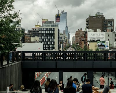 An overcast view of the Chelsea district in New York City from the Highline.