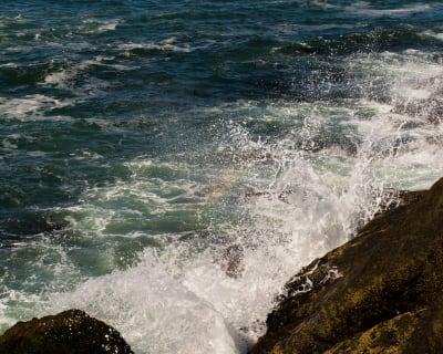 Waves crashing into shore in Oregon.