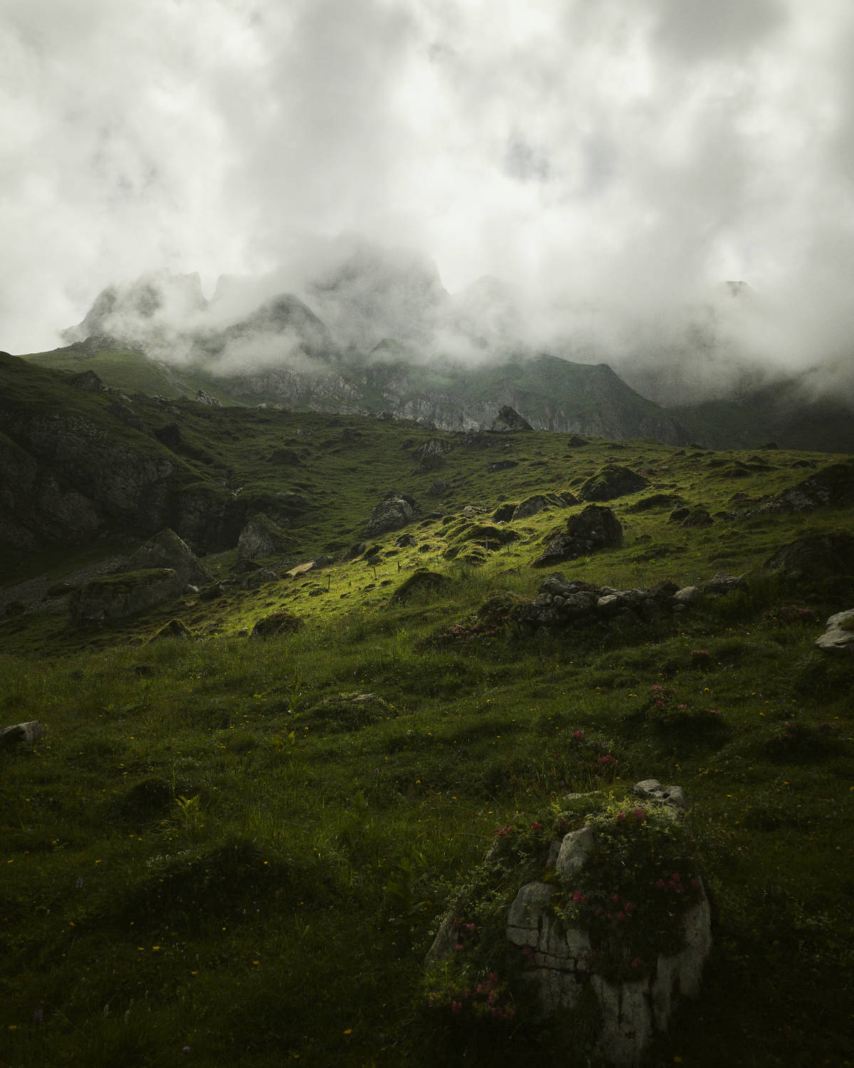 Light shines through the cloud cover onto a green meadow in the canton of Appenzell, Switzerland