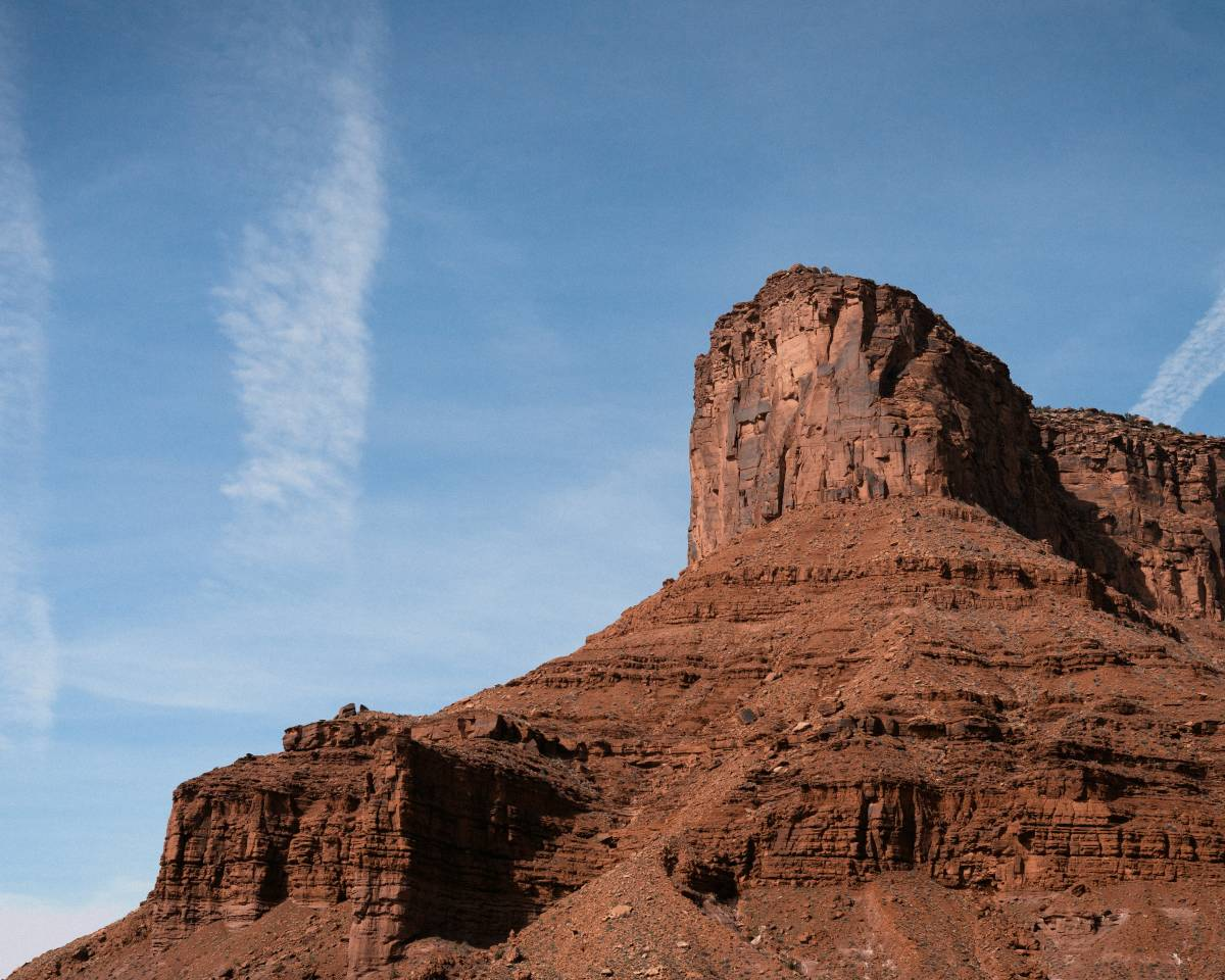 A look up at a mesa near Moab, Utah.