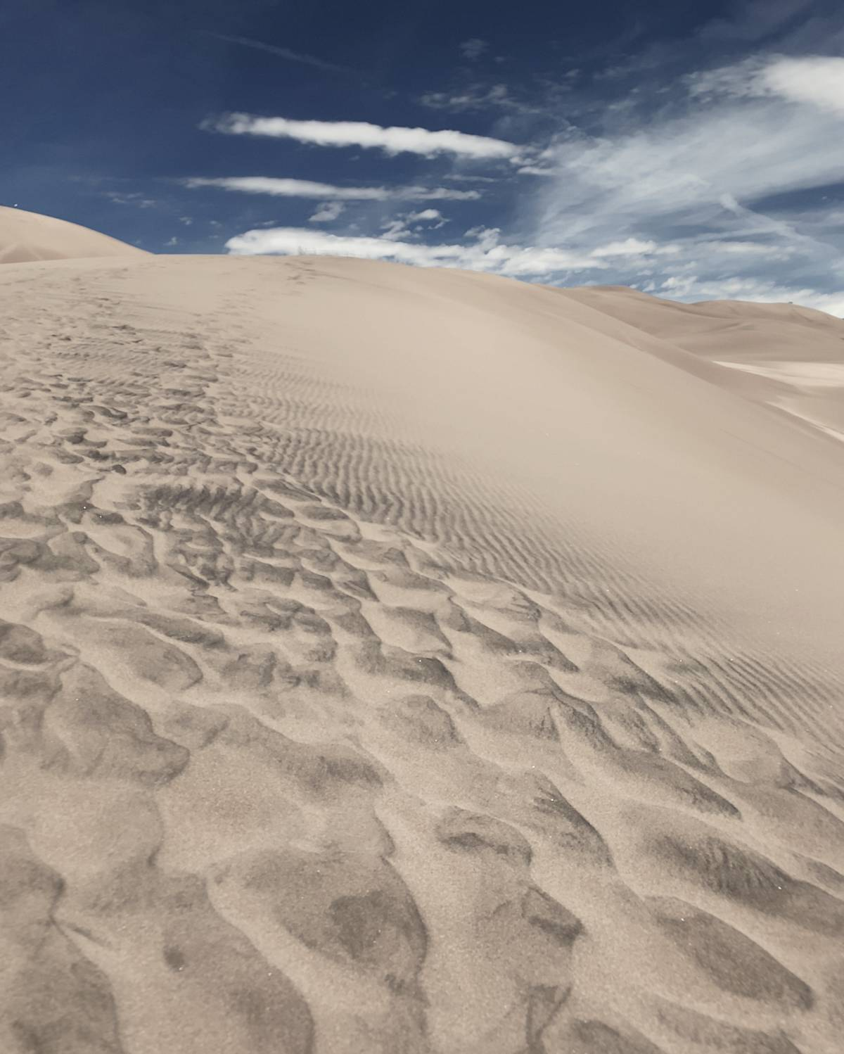 The footprints of people come and gone hiking on the sand dunes at the Great Sand Dunes National Park.