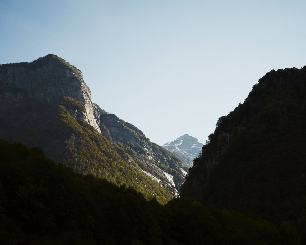 Alpine mountains in Canton Ticino with early morning light