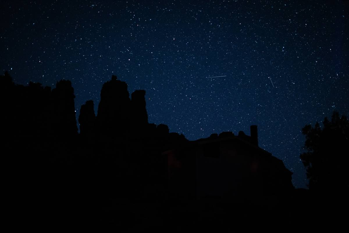A view of the night sky a little after sunset near Moab, UT.