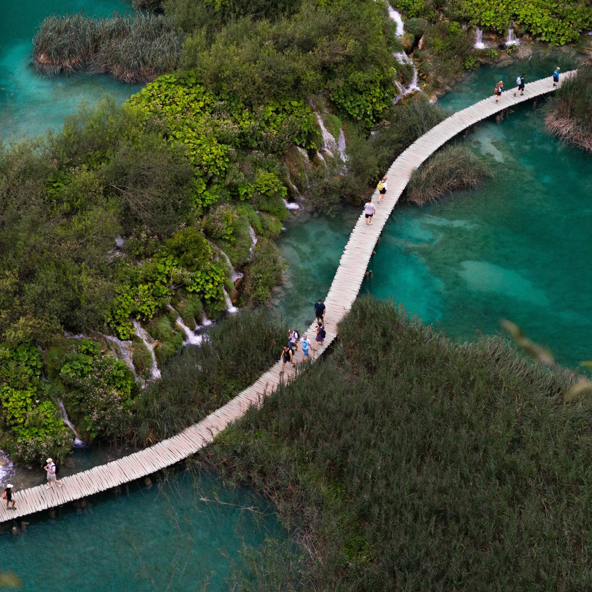 A walkway in the Plitvice Lakes National Park in Croatia.