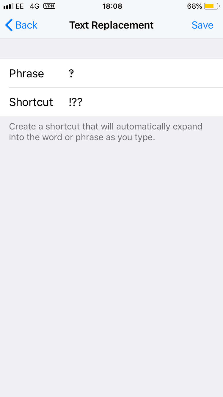 Screenshot of the text replacement shortcut menu on iphone