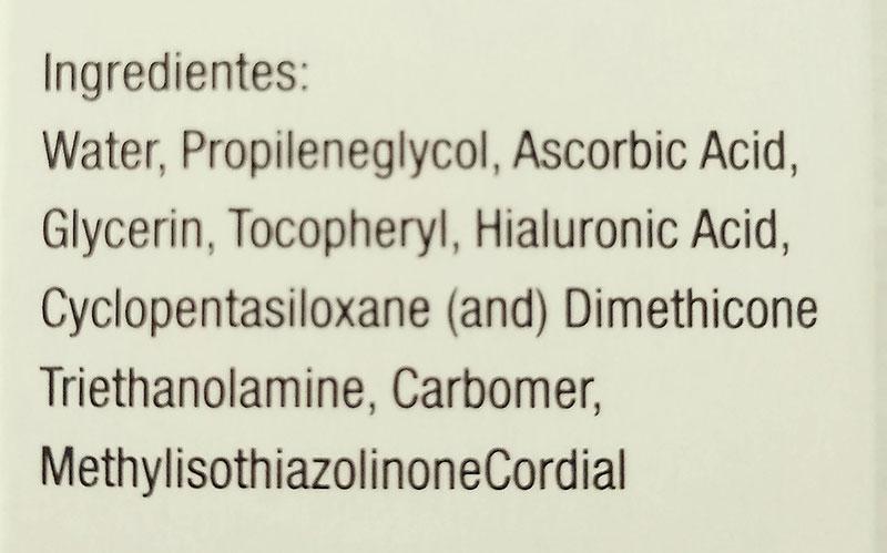 Ingredientes del serum de vitamina C de Skincare.com.ar
