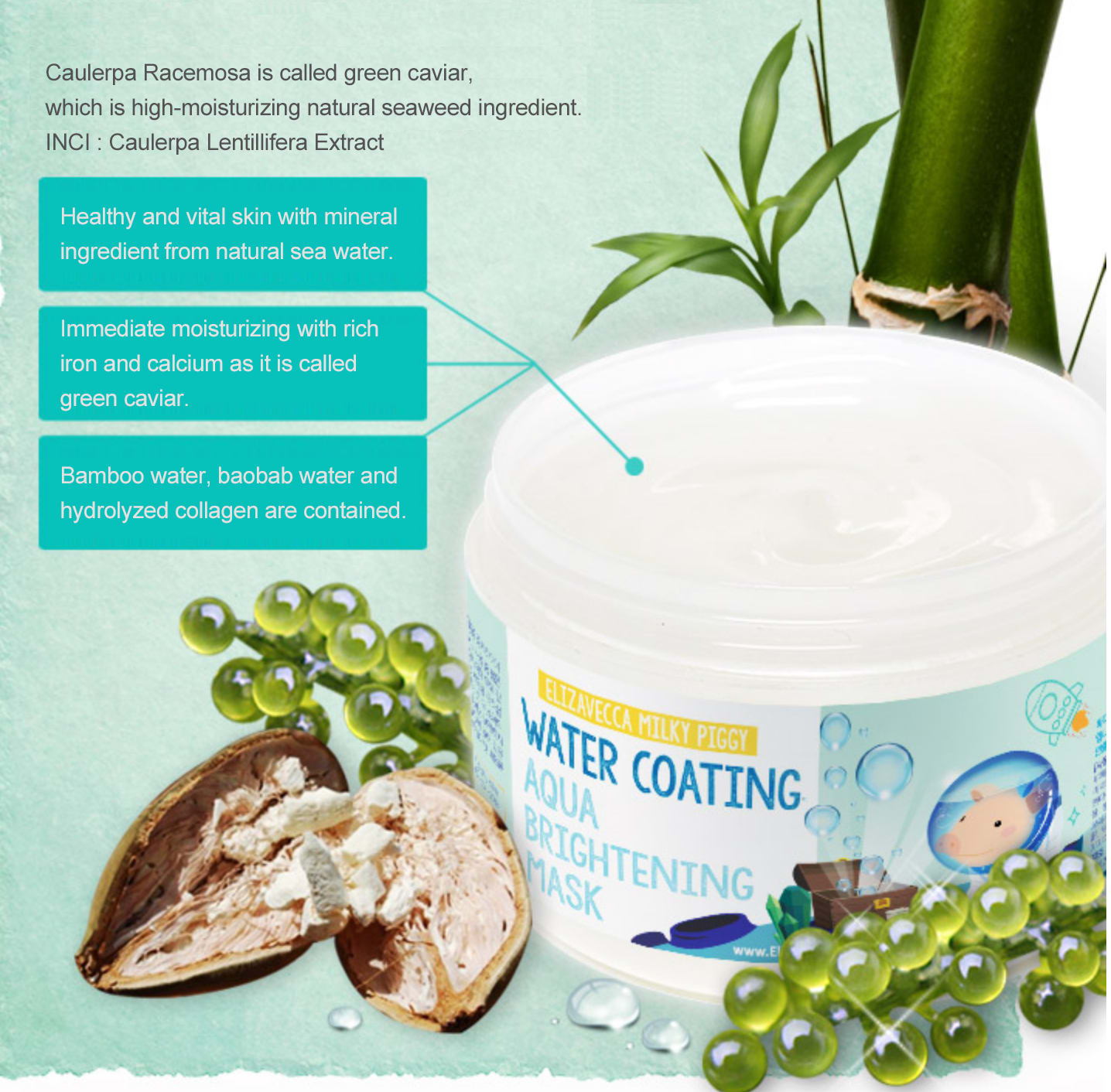 Milky Piggy Water Coating Aqua Brightening Mask 100ml How to use Description Ingredients