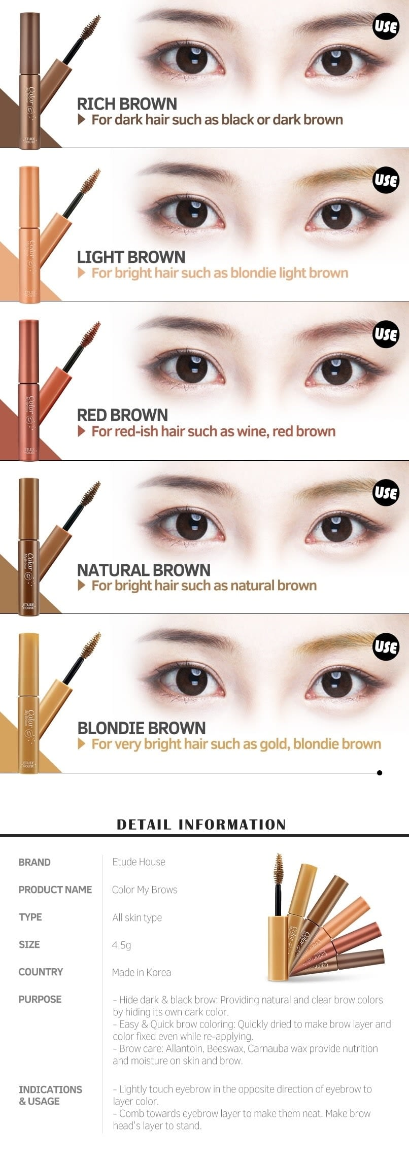Color My Brows 4.5g Colors Description How to use