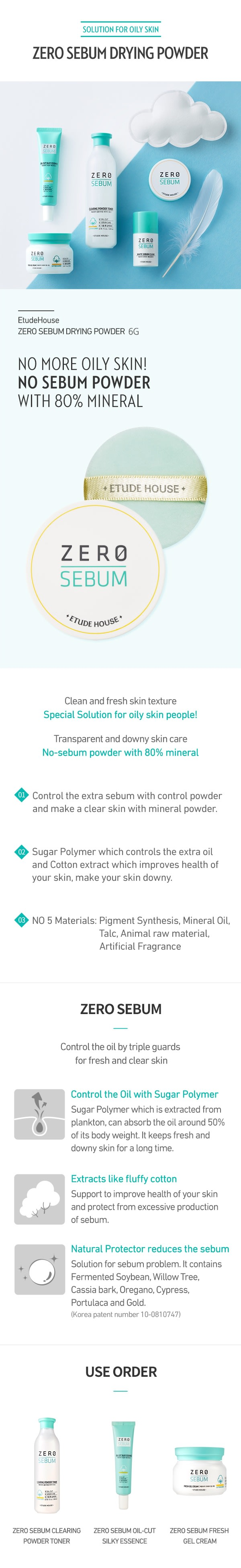 Zero Sebum Drying Powder 6g How to use Description Ingredients