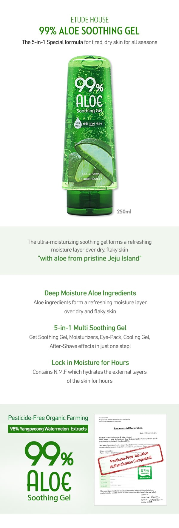 99% Aloe Soothing Gel 250ml How to Use Description Ingredients