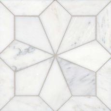 Blomma Honed Marble Mosaic in Bianco
