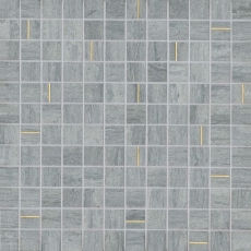 Ferrara Argento Marble 1x1 Mosaic with Brass - Honed