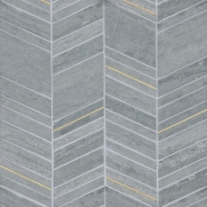 Ferrara Argento Marble Chevron Mix Size Mosaic with Brass - Honed