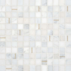 Ferrara Bianco Marble 1x1 Mosaic with Brass - Honed
