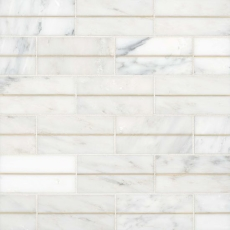 Ferrara Bianco Marble 3x6 with Brass - Honed