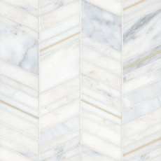 Ferrara Bianco Marble Chevron Mix Size Mosaic with Brass - Honed
