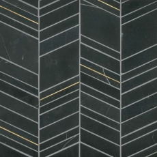 Ferrara Nero Marble Chevron Mix Size Mosaic with Brass - Honed