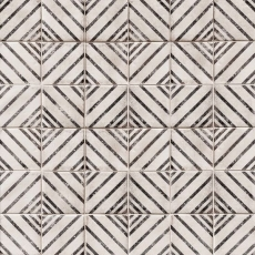 Vivace 4x4 pressed porcelain deco tile in Motif Rice gloss
