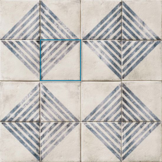 Vivace 9x9 pressed porcelain deco tile in Roads Atlantic matte