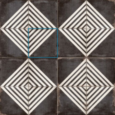 Vivace 9x9 pressed porcelain deco tile in Roads Caviar matte