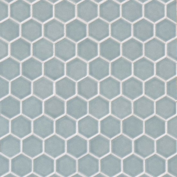 Provincetown hexagon mosaic tile in Surfside Blue