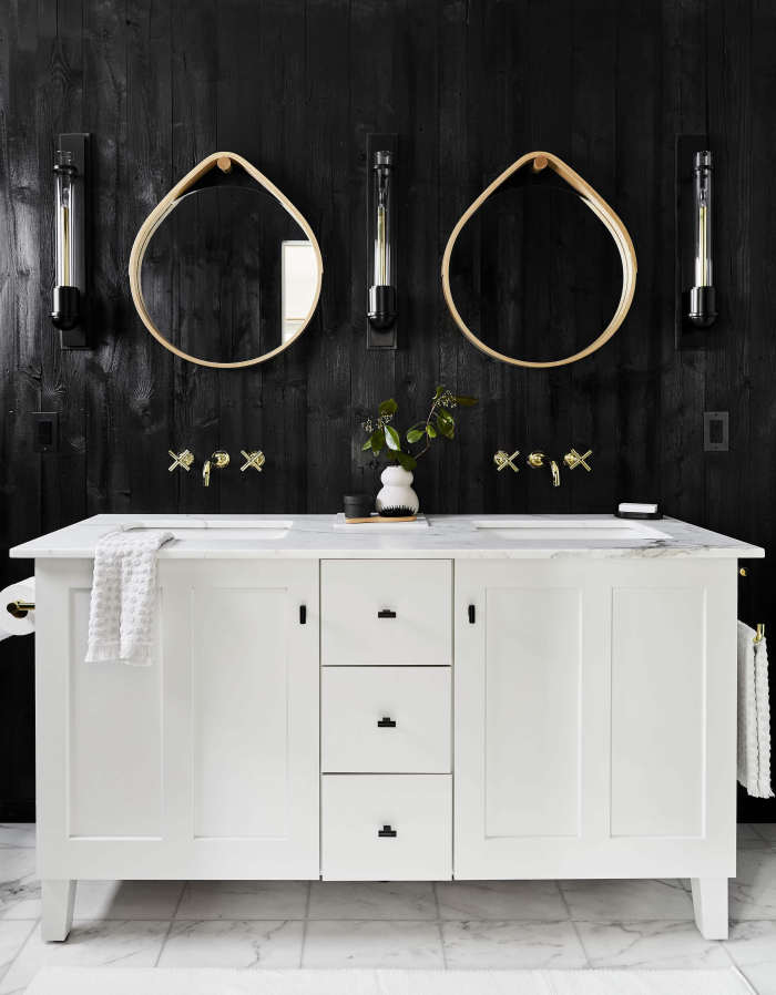 Bold Black and White Bathroom by Emily Henderson