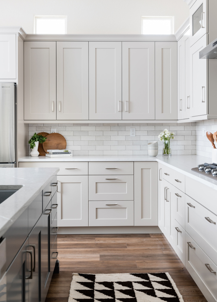 "Cloe 2.5""x8"" ceramic tile in White; Designer: Precision Cabinetry Design; Photographer: Stephanie Russo"