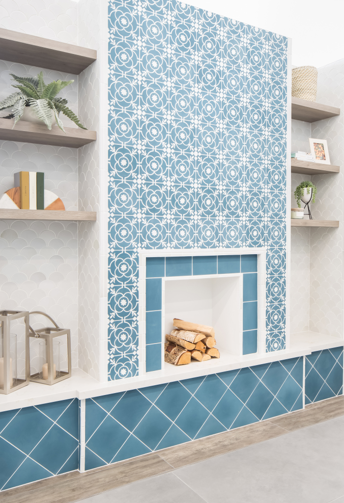 Remy 8x8 cement tile in Brigette and Cobalt