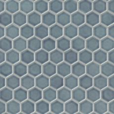 Provincetown ceramic hexagon tile in Harbor Blue