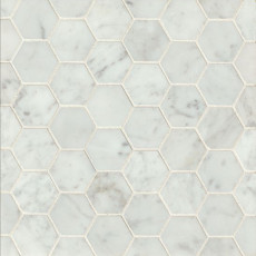 "White Carrara 2"" hexagon marble mosaic tile"