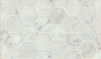 White Carrara honed hexagon marble mosaic