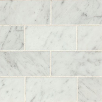 White Carrara 3x6 honed marble tile