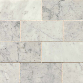 White Carrara 3x6 polished marble tile