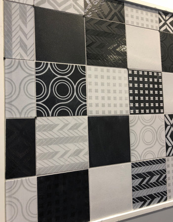Black and white, wall-paper look tile