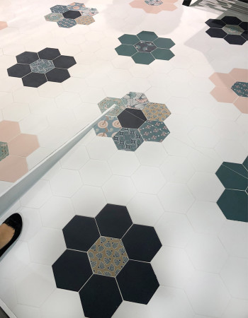 Soft, pastel colors and romantic patterns in the classic hexagon pattern