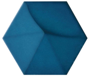 5x4 Hedron ceramic wall tile in Gloss Electric Blue