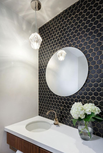Le Cafe porcelain hexagon tile in 2x2 matte black