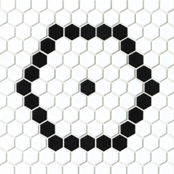 Le Cafe Deco 1 - black and white porcelain hexagon