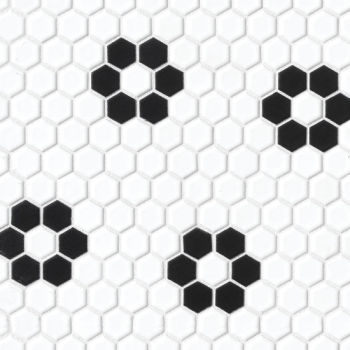 Le Cafe Deco 2 - black and white porcelain hexagon