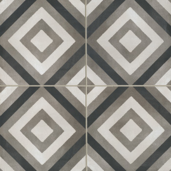 Chateau 12x12 porcelain Diamond Deco in Canvas, Smoke and Midnight